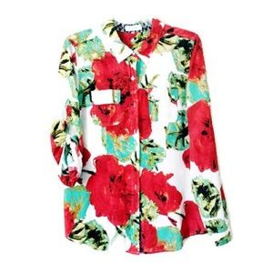 Red and White Floral Blouse | Calvin Klein Top